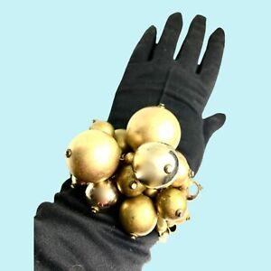 Large Gold Chunky Stretch Cuff Bracelet Runway Designer Big & Bold Fabulous