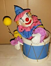 Animated Clown/Jester In Drum Wind Up Music Box San Francisco Music Box