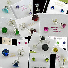 4mm Round Gemstone EARRINGS in Sterling Silver 925 Settings - MANY COLORS!