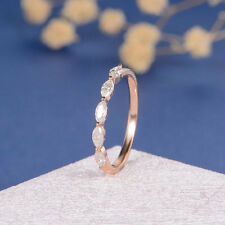 0.5ct Marquise Cut Diamond Infinity Eternity Wedding Band 14k Solid Rose Gold