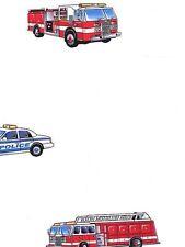 Emergency Vehicles on White Sure Strip Wallpaper Yh1427