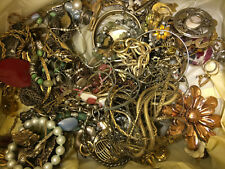 Vintage Lot of Jewelry Mixed Crafts Some Usable Necklaces Earrings Beads