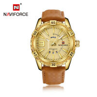Naviforce 9117 Luxury Calendar Week Leather Men Sport Waterproof Quartz Watch