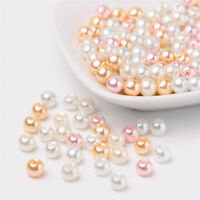 1 Bag Barely Pink Mix Round Pearlized Glass Pearl Beads Mixed Color 6mm Hole:1mm