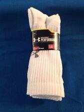 Men's Under Armour HeatGear Crew Socks 4 Pair White Large NWT