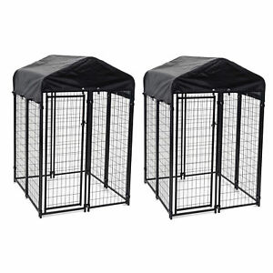 Lucky Dog Uptown 4 x 4 x 6 Foot Heavy Duty Outdoor Covered Dog Kennel (2 Pack)