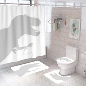 Tyrannosaurus Shower Curtain Bathroom Rug Set Thick Bath Mat Toilet Lid Cover