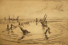 Original antique maritime etching signed; Elle? 1900's