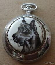 Enameled handpainted RUSSIAN POCKET WATCH     DOG  Great Dane #2