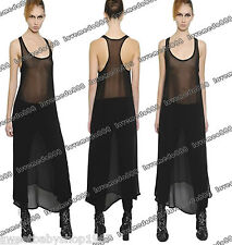 Womens MESH SHEER see through TANK back Summer CASUAL CLUB Long Maxi Dress XL
