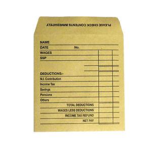 Printed Wage Self - Seal gummed Small Brown Envelopes 102mm X 108mm Envelope