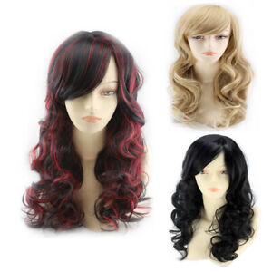 1pcs Long Curly Wave Hair Wigs Mixed Color Synthetic Full Wavy Hair Cosplay Wig