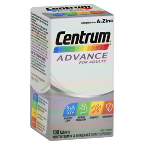Centrum Advance Multivitamin for Adults 100 Tablets Dietary Supplement A to Zinc