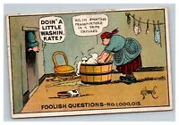Vintage 1910 Comic Postcard Foolish Questions Woman Washing Clothes Man Watches