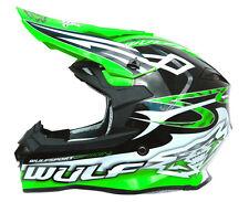 Wulfsport Sceptre Adult ACU Gold MX Motocross BMX Quad Crash Helmet Green Wulf