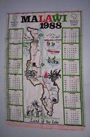 Vintage Cloth 1988 Calendar & Map of Malawi Africa