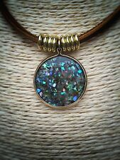Gold Abalone Disc Necklace On Natural Leather Spiritual Boho