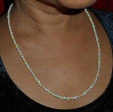 Collier argent Opale Ethiopie perle Keshi 61cm VIDEO Welo Opal necklace Mariage