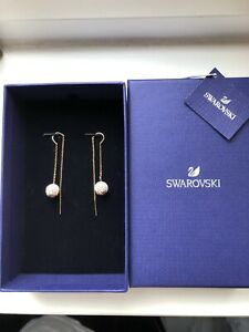 Swarovski Rose Gold Chain And Ball Dangly Earrings