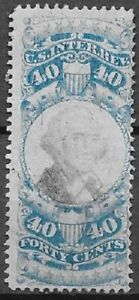 USA Revenue Scott R114 40c blue and black very nice stamp see scans