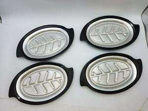 """4 Piece Nordic Ware Model 310 Sizzler Platter Holder Indoor Outdoor Buffet 13.5"""""""