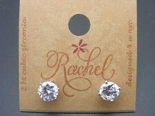 $12 Rachel CZ Post Earrings 1 Carat Each 2 ct TTW Silvertone 5 Prong Setting