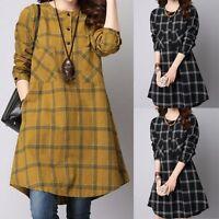 Womens Cotton Long Sleeve Checks&Plaids Loose Casual Tops Shirt Short Mini Dress