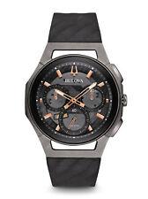 Bulova Curv Black-Rose Dial SS Silicone Chronograph Quartz Men's Watch 98A162