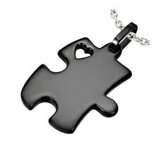 Puzzle Piece Heart Autism Awareness 316 Black Stainless Steel Pendant Necklace