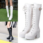 New Womens Belt Buckle Knee High Lace Up Boots High Heels Shoes AU Size Y1449