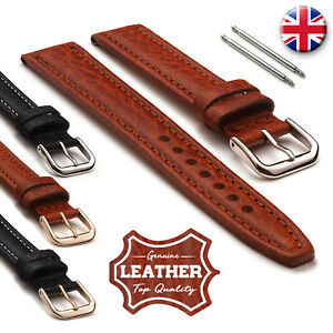Men's Genuine Durable Buffalo Leather Thick Padded Watch Straps 18 20 22 24mm
