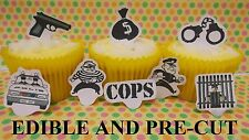 x24 COPS AND ROBBERS EDIBLE wafer paper stand up cup cake toppers PRE-CUT