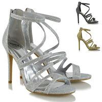 Womens Strappy Heel Platform Sandals Peeptoe Ladies Stiletto Evening Party Shoes