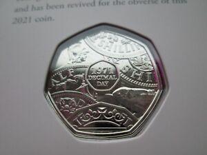 2021 Decimal Day 50th Ann. 50p Coin BUNC Mint Condition Machin Portrait