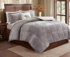 SHERPA PLUSH GREY ** King ** COMFORTER SET : GRAY FAUX FUR LUXURY BEAR FLEECE