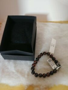 Blackjack Mens Genuine Red Tiger Eye Stainless Steel Beaded Bracelet BJS16BRT
