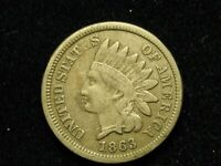 MARCH MADNESS SALE!  VF 1863 INDIAN HEAD CENT PENNY w/DIAMONDS & PART LIBERTY 9k