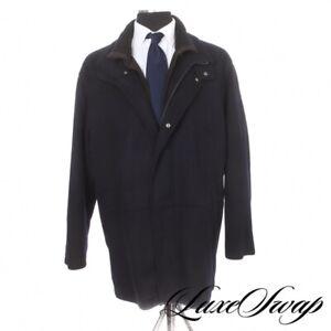 Barneys New York 100% Cashmere Navy Flannel ButtonOut Liner Winter Storm Coat 44