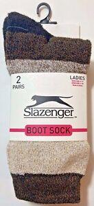 Slazenger Womens Ladies Boot Sock Shoe Size 4-10 Sock Size 9-11 2 Pairs  Brown