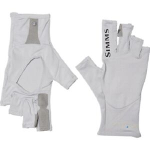 Simms Fishing Solarflex Fingerless Sun Gloves Grey Color UPF 50+ Small - NEW!