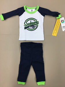 NFL Seattle Seahawks MATCHING THERMAL PAJAMA SET NEW WITH TAGS 0-6 Months