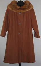 VTG 1950's Brown Soft Wool Coat Mink Collar 3/4 Sleeves Button Down Lined