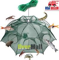 Fishing Bait Trap Crab Net Crawdad Shrimp Cast Dip Cage Fish Minow Foldable NEW
