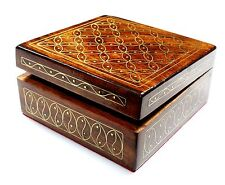 Wooden Handmade Copper Inlay Marquetry Mosaic Rosewood Jewelry Box Gemstone