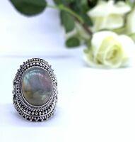 Designer 925 Sterling Silver Ladies Labradorite Gemstone Big Ring Size Q