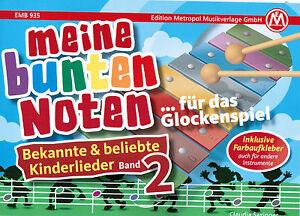 Glockenspiel Noten : Meine bunten Noten KINDERLIEDER 2 - sehr leicht -  FARBEN