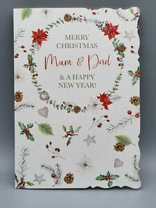 Mum and Dad Christmas Card, Christmas Wishes and Happy New Year