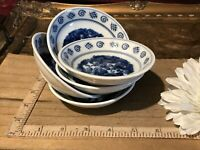 "5 Asian Porcelain Blue & White Double Dragon  Dipping Bowl Design 3 7/8""x1"""