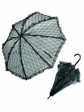 Widmann schwarzer Spitzenschirm Rüschenschirm Sonnenschirm Regenschirm