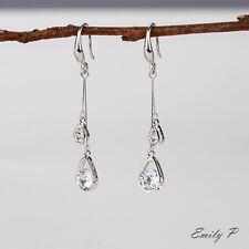 Cubic Zirconia Teardrop Dangle Drop Earrings White Gold Plated Hook Earrings